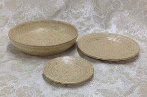 photo of 3 patens in cream glaze by Ocepek Pottery