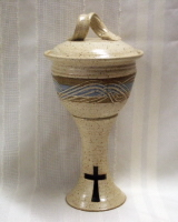 photo of the Ciborium host container in Otoe glaze by Ocepek Pottery