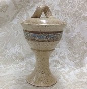 photo of Ciborium Pyx in Spirit glaze by Ocepek Pottery