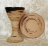 photo of Disciple travel communion set in Memorial pattern made by Debra Ocepek of Ocepek Pottery