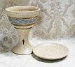 photo of communion pottery blessing cup and paten made by Debra Ocepek of Ocepek Pottery