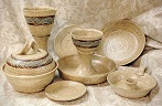 photo of pottery communion ware, wheel-thrown congregational communion sets.  Click here for more info and ordering