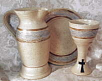 Christian communion pottery. Click here for communion pottery catalog - chalices, patens, communion vessels, altar ware
