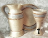 Christian communion pottery eucharist flagon, chalice, paten, communion vessels, altar ware