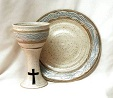 photo of stoneware chalice goblet and paten intinction set