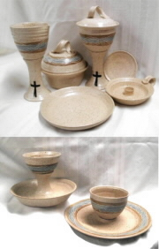 photo of our wheel-thrown ciborium, pouring chalice, host box, candle holder, dish paten, intinction servers in Otoe glaze