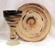 photo of rustic stoneware chalice goblet and paten communion set upper room set